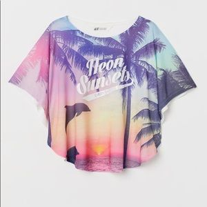 H M Shirts Tops Shirt With A Neon Sunset In The Background Poshmark